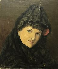 W. MUSK. Antique Old Vintage Edwardian oil painting portrait woman signed 1904