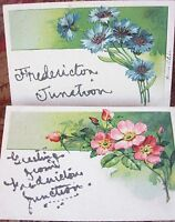 ANTIQUE POST CARD LOT SET TWO GREETINGS FROM FREDERICTON JUNCTION NEW BRUSWICK