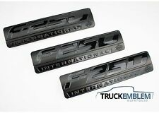 3 NEW SET CUSTOM MATTE BLACK F250 POWERSTROKE INTERNATIONAL FENDER BADGES
