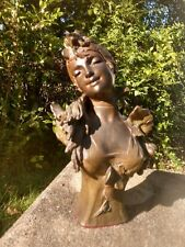 Antique Alfred Jean Foretay French Art Nouveau Metal Bust of a Young Woman Paris