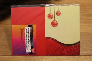 5 Doppel - Grußkarten - Weihnachtskugeln rot gold mit Umschlag - basteln