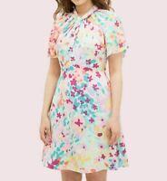 Kate Spade Painted Petals Twist Neck Dress Cream US 0-8