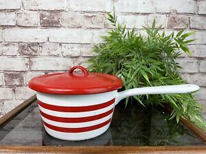 Vintage PRESTIGE Enamel Lidded Saucepan Red White Stripe Cooking Pot Pan Kitchen