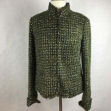 Chico's Women Jacket Green Olive Gold Size 1(M,8) Texture Long Sleeve 4 Hooks