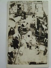 RPPC MILITARY TROOPS FORWARD WELL ON BOARD SHIP! WWI REAL PHOTO AZO POSTCARD#298
