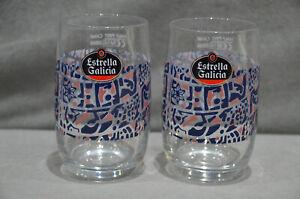 Pair Of (2) Estrella Galicia Beer Lager Half Pint Glass Barcelona Spain M16 Rare