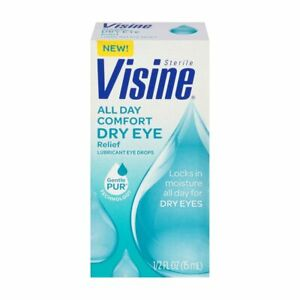 2 PACK Visine Tears All Day Comfort Dry Eye Relief Drops , 0.5 Oz