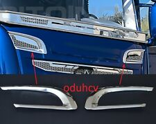 2x Mirror Stainless Steel Upper Garnish Air Grille Trim for SCANIA R 2010/16