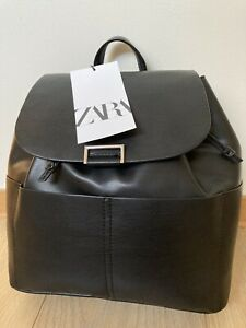 ZARA SOFT BACKPACK WITH POCKETS BLACK new with tags