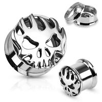 PAIR Carved Skull w/Flames Steel Double Flare Tunnels Ear Plugs Earlets Gauges