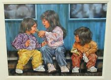 SHEILA SOMERVILLE KIDS EATING ICE CREAM ORIGINAL ACRYLIC ON CANVAS PAINTING