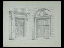 PARIS, PORTES ILE SAINT LOUIS - 1896 - PLANCHE ARCHITECTURE- 20 RUE POULLETIER