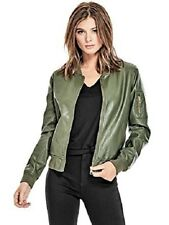 NWT GUESS Women's Quia Faux Leather Bomber Jacket, Green, Sz L