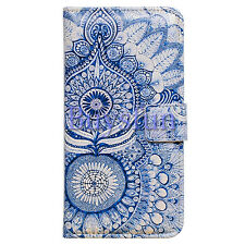 Bocov Bcov Blue Tribal Flowers Leather Wallet Cover Case For Samsung Galaxy S7