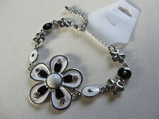 FUNKY RETRO 60s/70s BLACK WHITE & DIAMANTE DAISY FLOWER BRACELET 21+ 8 cm new