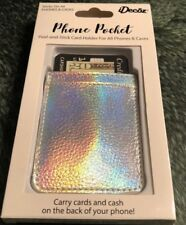 iDecoz Phone Pocket Stick On Phone or Case Metallic Silver 5 Card Wallet RD257C