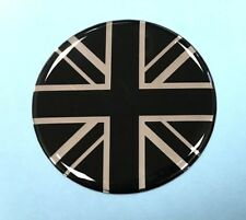 50mm Diameter UNION JACK FLAG Sticker/Decal - CHROME & BLACK - GLOSS DOMED GEL