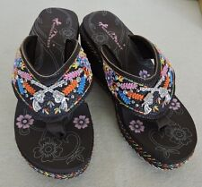 "Coffee Montana West Flip Flops w Crossed Pistols Concho Embroidered 3"" Wedge"