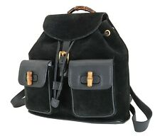 Authentic GUCCI Black Suede and Leather Bamboo Handle Backpack Bag #35905A