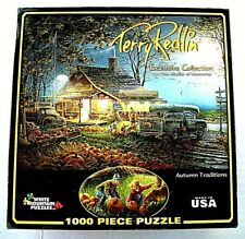 "TERRY REDLIN 1000 Piece Jigsaw ""AUTUMN TRADITIONS"" White Mountain 2012 EUC"