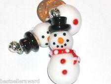 1pc Glass Christmas Snowman Lampwork oil perfume small little pendant Bottle New