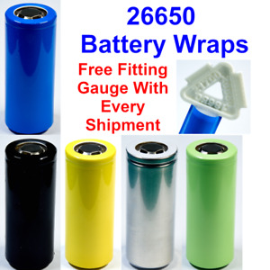10 X 26650 Battery Wraps - Heat Shrink PVC Sleeves - 5 Colours To Choose From