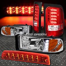 CHROME HOUSING DRL HEADLIGHT+RED LED TAIL LIGHT+3RD BRAKE FOR 94-02 DODGE RAM