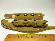 North Star Tan Suede Leather Long Hair Ties Pony Tail Braid Wrap Made In USA#112