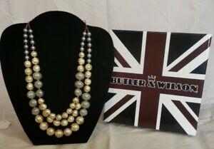Butler & Wilson Polished Glass 3 Row Necklace, Cream / Grey, BNIB