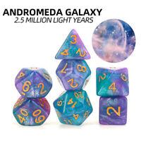 7pcs / Set Andromède Galaxy Polyédrique Dés pour Mdn RPG MTG Jeu Donjons