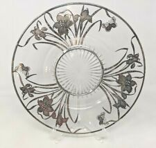 VINTAGE Sterling Silver Overlay Glass Cake Plate Serving Plater Daffodills Flowers Tray