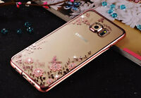 Luxury Flower Pattern Crystal Diamond Clear Soft Cover Case For Samsung Galaxy