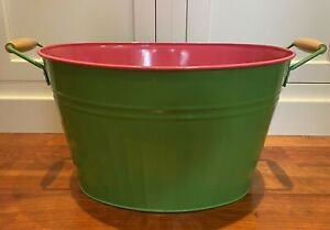 Large Oval Metal Bucket With Handles Green & Pink Preppy Home Decor