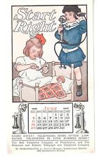 June 1905 Calendar Trade Card Bell Telephone Phila. Girls Call Doctor Sick Doll