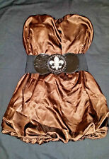 ICE Chocolate Brown Strapless Satin Bubble Dress