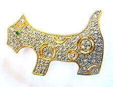 Crystal Lapel Pin Free Shipping Gift New Scottie Dog Brooch Gold Plated Terrier