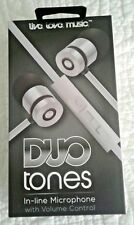 Duo Tones Light Weight, Soft-Touch Stereo Earbuds-Flat, Tangle-Free Cable
