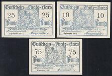 3x Thale Harz: 10, 25 + 75 Pfennig Sylvester 1921