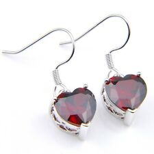 Classic Platinum Plated Fine Jewelry Love Heart Red Garnet Gems Dangle Earrings