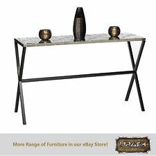 Console Hallway Table with Stainless Steel Top and Cross Black Legs