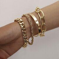 4 Stück Silber Gold Legierung Herren Damen Armband Armreif Panzerkette Kette Set