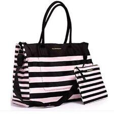 Victoria's Secret Weekende Pink & Black Striped Travel Tote Bag Makeup Bag Set