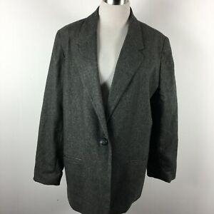 Sag Harbor Petite 16P Blazer Jacket 1 Button Slit Pocket Gray Boxy Boyfriend 80s