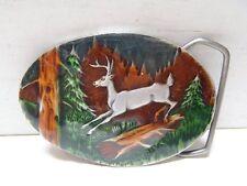 1980 Deer Buck Belt Buckle Indiana Metal Craft USA Made Hunting