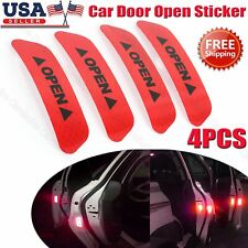 4Pcs Super Red Car Door Open Sticker Reflective Tape Safety Warning Decal New Us