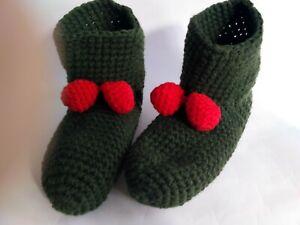 Unisex crochet slippers/socks Green, Size 8-9 USA, Soft house shoes, Christmas