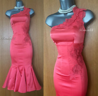 KAREN MILLEN UK 8 Coral Silk Embroidered One Shoulder Glam Cocktail Pencil Dress