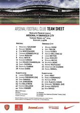 Teamsheet - Arsenal v Swansea City 2013/14