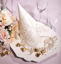 50 Airlaid Servietten Creme Gold - Hochzeit / Wedding / Stoffoptik stoffähnlich