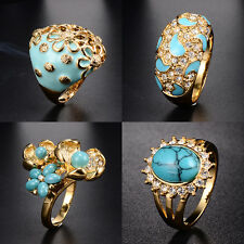 New Womens&Mens Yellow Gold Plated Flower Turquoise Big Ring Party Free shpping
